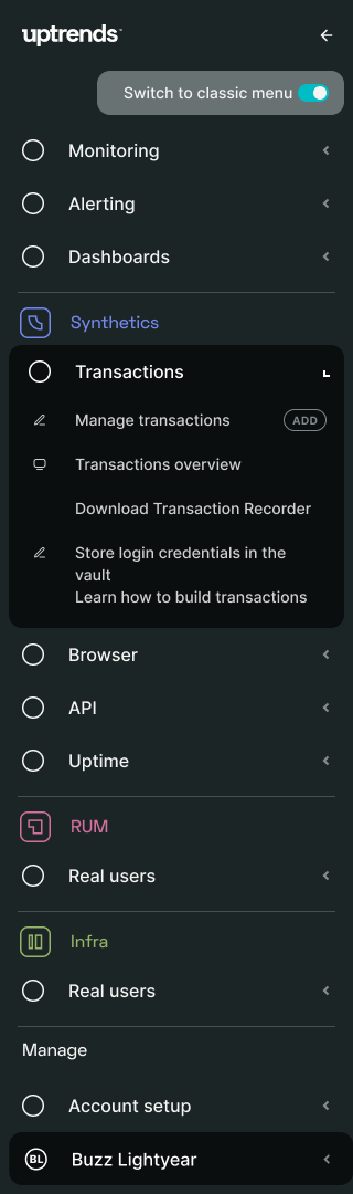 The new Uptrends main menu with the Transactions section expanded, revealing links to relevant dashboards and help links
